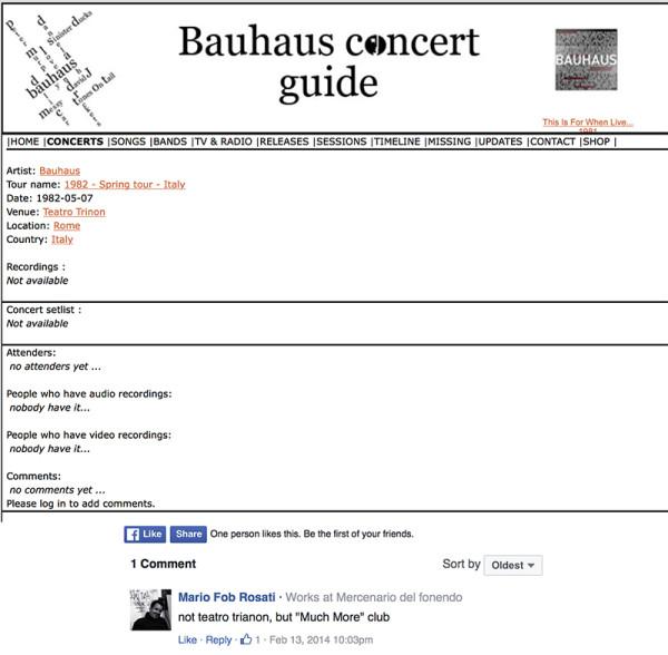 Il sito Bauhaus Concert Guide