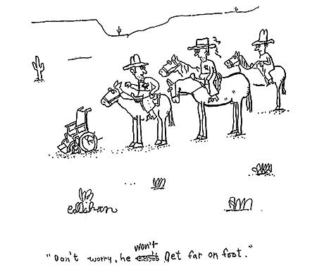 """Don't worry"", vignetta di John Callahan"